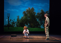 Starring: Chris Wilbur '21; Abby Howell '21<br /> Photo from the dress rehearsal of the Occidental College Department of Theater presentation of Country Music, written by Simon Stephens and directed by John Bouchard, Nov. 29, 2017 in Keck Theater. The action takes place in Thurrock, Essex; Her Majesty's Prison, Grendon, Buckinghamshire; and Durham Road, Sunderland, between 1983 and 2004.<br /> (Photo by Marc Campos, Occidental College Photographer)