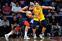 Washington, DC - Aug 8, 2019: Washington Mystics forward Elena Delle Donne (11) guarded by Indiana Fever center Natalie Achonwa (11) during 1st half action of game between the Indiana Fever and the Washington Mystics at the Entertainment & Sports Arena in Washington, DC. (Photo by Phil Peters/Media Images International)