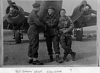 BNPS.co.uk (01202 558833)<br /> Pic: HannBooks/BNPS<br /> <br /> PICTURED:  Paratrooper, Stanley Hann (centre) shaing hands with 'Chalky' White (left) and Johnie Johnson<br /> <br /> Remarkable photos taken deep behind enemy lines by an SAS unit during a daring wartime operation have come to light on the 75th anniversary of the mission. <br />  <br /> The little-known Operation Galia on the 27th December 1944 involved just 33 SAS men hoodwinking the Nazis and their fascist allies into thinking a much greater force had landed behind them in Italy in December 1944.<br />  <br /> Adolf Hitler's forces had just launched a major surprise offensive in the Ardennes Forest in Belgium that became known as the Battle of the Bulge.<br /> <br /> Robert Hann, whose late father was SAS Paratrooper Stanley Hann, retraced his father's wartime experiences and part of his [father's] epic 80 mile long escape route through the Apennine mountains which the men took, to help him write the book 'SAS Operation Galia.'