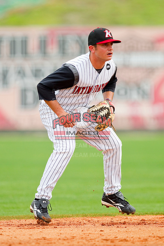 Shortstop Kyle Eveland #6 of the Kannapolis Intimidators on defense against the West Virginia Power at Fieldcrest Cannon Stadium on April 20, 2011 in Kannapolis, North Carolina.   Photo by Brian Westerholt / Four Seam Images