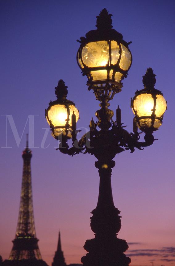 France Paris Street lights at dusk