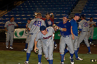 Daytona Cubs players celebrate  after winning game 3 of the Florida State League Championship Series against the St. Lucie Mets to win the Florida State League Championship at Digital Domain Park on Spetember 11, 2011 in Port St. Lucie, Florida. Photo by Scott Jontes / Four Seam Images
