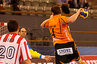 25.03.2012 MADRID, SPAIN -  EHF Champions League match played between BM At. Madrid vs Kadetten Schaffhausen (26-30) at Palacio Vistalegre stadium. the picture show Peter Kukucka (Kadetten Schaffhausen player)