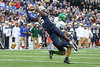 Annapolis, MD - October 26, 2019: Navy Midshipmen safety Noruwa Obanor (15) drops an interception during the game between Tulane and Navy at  Navy-Marine Corps Memorial Stadium in Annapolis, MD.   (Photo by Elliott Brown/Media Images International)