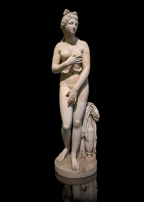 Statue of Aphrodite, a 2nd century Roman Copy. This sculpture depicts Aphrodite in the typical pose known as the Modest Aphrodite style or Dresden-Capitoline type and is a copy of a lost 4th century BC Aphrodite of Cnidos sculpture by Athenian sculpture Praxiteles. Farnese Collection, Naples  National Archaeological Museum, Italy