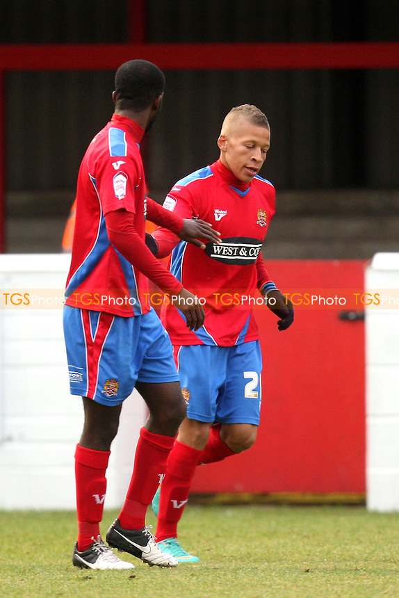 Dwight Gayle of Dagenham is congratulated for scoring the opening goal- Dagenham and Redbridge vs Rotherham United at the London Borough of Barking and Dagenham Stadium  - 10/11/12 - MANDATORY CREDIT: Dave Simpson/TGSPHOTO - Self billing applies where appropriate - 0845 094 6026 - contact@tgsphoto.co.uk - NO UNPAID USE.