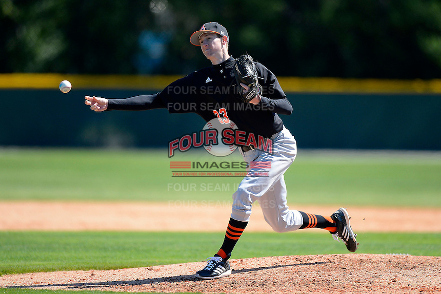 Mercer Bears pitcher David Teasley #33 delivers a pitch during a game against the Notre Dame Fighting Irish at Buck O'Neil Complex on February 17, 2013 in Sarasota, Florida.  Mercer defeated Notre Dame 5-4.  (Mike Janes/Four Seam Images)