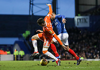 Blackpool's Chris Long wins the ball back from  Portsmouth's Gareth Evans<br /> <br /> Photographer Andrew Kearns/CameraSport<br /> <br /> The EFL Sky Bet League One - Portsmouth v Blackpool - Saturday 12th January 2019 - Fratton Park - Portsmouth<br /> <br /> World Copyright &copy; 2019 CameraSport. All rights reserved. 43 Linden Ave. Countesthorpe. Leicester. England. LE8 5PG - Tel: +44 (0) 116 277 4147 - admin@camerasport.com - www.camerasport.com