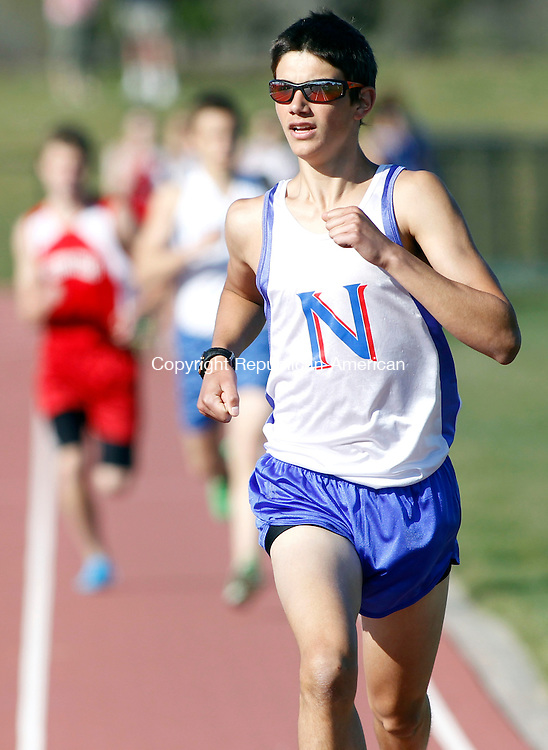 Litchfield, CT-17 April 2012-041712CM04-  Nonnewaug's  Jonah Riolo never lost the lead and goes on to win during the 1600m during a track meet against Litchfield, Northwestern and Wolcott Tech, Tuesday afternoon at Litchfield High School.   Christopher Massa Republican-American