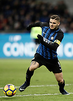 Calcio, Serie A: Inter - Roma, Milano, stadio Giuseppe Meazza (San Siro), 21 gennaio 2018.<br /> Inter's Captain Mauro Icardi in action during the Italian Serie A football match between Inter Milan and AS Roma at Giuseppe Meazza (San Siro) stadium, January 21, 2018.<br /> UPDATE IMAGES PRESS/Isabella Bonotto