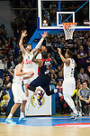 Bayern Munich´s player Rivers between Real Madrid´s players Rudy Fernandez and Thompkins during the 4th match of the Turkish Airlines Euroleague at Barclaycard Center in Madrid, Spain, November 05, 2015. <br /> (ALTERPHOTOS/BorjaB.Hojas)