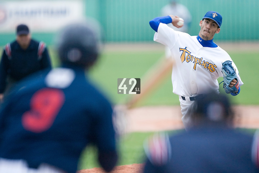 10 Aug 2007: Matthieu Brelle Andrade pitches against Rouen during game 1 of the french championship finals between Templiers (Senart) and Huskies (Rouen) in Chartres, France. Templiers beat Huskies 1-0.