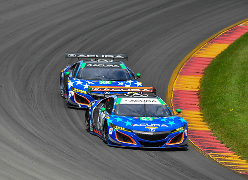 IMSA WeatherTech SportsCar Championship<br /> Sahlen's Six Hours of the Glen<br /> Watkins Glen International, Watkins Glen, NY USA<br /> Sunday 2 July 2017<br /> 93, Acura, Acura NSX, GTD, Andy Lally, Katherine Legge, 86, Acura, Acura NSX, GTD, Oswaldo Negri Jr., Jeff Segal<br /> World Copyright: Richard Dole/LAT Images<br /> ref: Digital Image RD_WGI_17_467