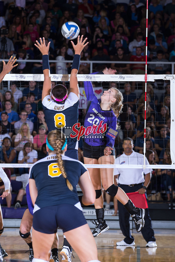 Haley Barnes (20) of the High Point Panthers attacks the ball during the match against the UNC Greensboro Spartans at Millis Athletic Center on September 16, 2014 in High Point, North Carolina.  The Panthers defeated the Spartans 3-0.   (Brian Westerholt/Sports On Film)
