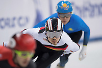 1st February 2019, Dresden, Saxony, Germany; World Short Track Speed Skating; 500 meter men in the EnergieVerbund Arena. Florian Becker from Germany (M) runs in a curve.