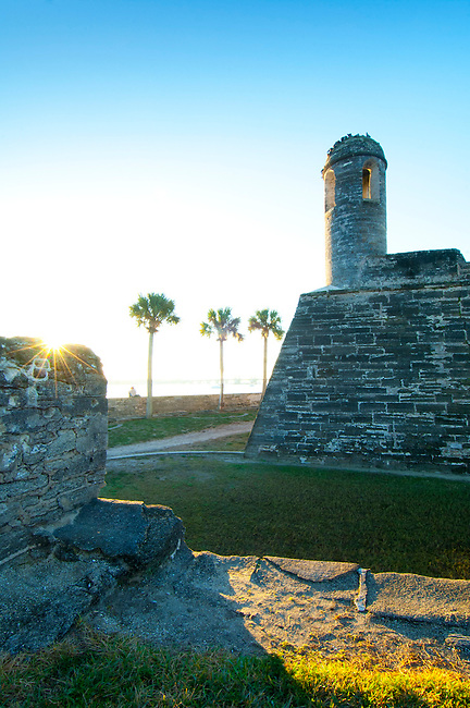 Sunrise at the Castillo de San Marco in Saint Augustine, Florida. The Castillo is the oldest masonry fort in the continental United States.  It was built out of a local stone called coquina in the late 1600's. The fort was declared a National Monument in 1924.