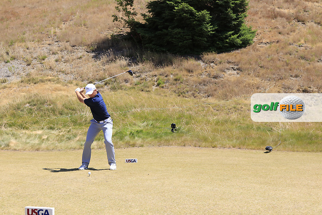 Jordan Speith (USA) tees off the 8th tee during Friday's Round 2 of the 2015 U.S. Open 115th National Championship held at Chambers Bay, Seattle, Washington, USA. 6/19/2015.<br /> Picture: Golffile   Eoin Clarke<br /> <br /> <br /> <br /> <br /> All photo usage must carry mandatory copyright credit (&copy; Golffile   Eoin Clarke)