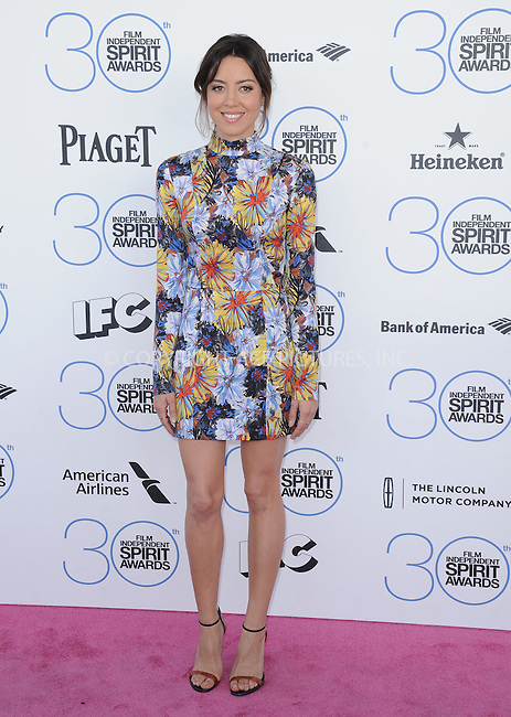 WWW.ACEPIXS.COM<br /> <br /> February 21 2015, LA<br /> <br /> Aubrey Plaza arriving at the 2015 Film Independent Spirit Awards at Santa Monica Beach on February 21, 2015 in Santa Monica, California.<br /> <br /> By Line: Peter West/ACE Pictures<br /> <br /> <br /> ACE Pictures, Inc.<br /> tel: 646 769 0430<br /> Email: info@acepixs.com<br /> www.acepixs.com