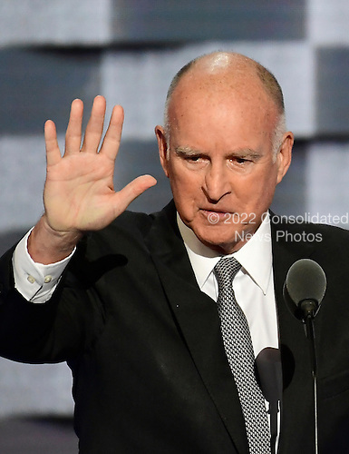 Governor Jerry Brown (Democrat of California) makes remarks on climate change during the third session of the 2016 Democratic National Convention at the Wells Fargo Center in Philadelphia, Pennsylvania on Wednesday, July 27, 2016.<br /> Credit: Ron Sachs / CNP<br /> (RESTRICTION: NO New York or New Jersey Newspapers or newspapers within a 75 mile radius of New York City)