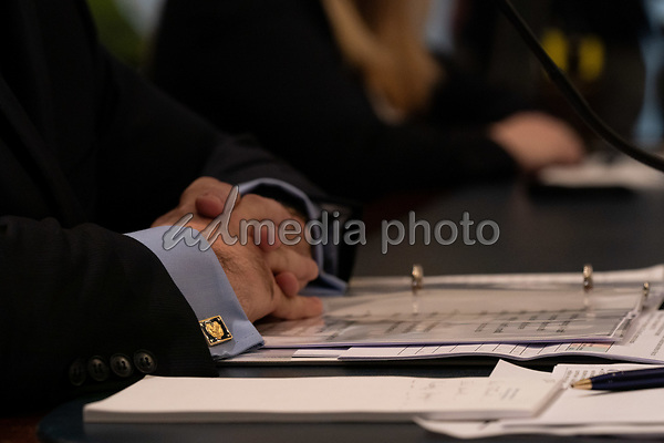 United States Secretary of Veterans Affairs (VA) Robert Wilkie, clasps his hands during a hearing with the US House Appropriations Subcommittee on Military Construction, Veterans Affairs, and Related Agencies on Capitol Hill in Washington DC, on May 28th, 2020.<br /> Credit: Anna Moneymaker / Pool via CNP/AdMedia