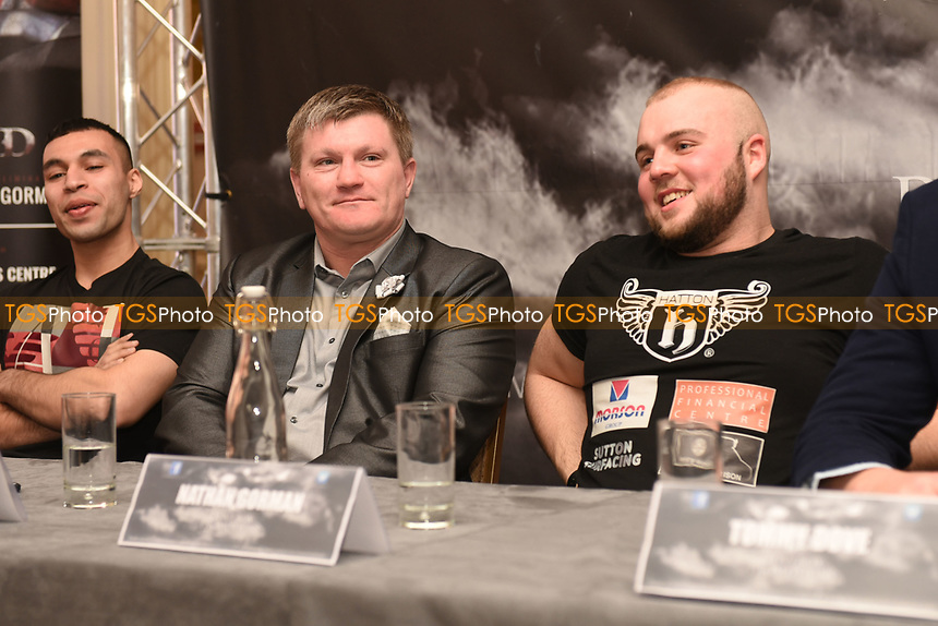 Ricky Hatton (L) and Nathan Gorman during a DoveBox Promotions Press Conference at the Landmark Hotel on 9th March 2017
