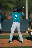 AZL Mariners Cesar Trejo (7) at bat during an Arizona League game against the AZL D-backs on July 3, 2019 at Salt River Fields at Talking Stick in Scottsdale, Arizona. The AZL D-backs defeated the AZL Mariners 3-1. (Zachary Lucy/Four Seam Images)
