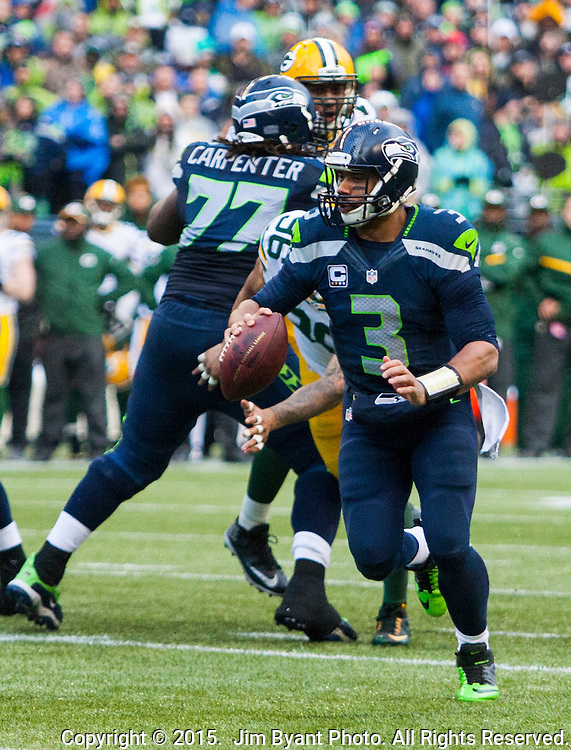 Seattle Seahawks  Green Bay Packers during the NFC Championship game at CenturyLink Field in Seattle, Washington on January 18, 2015.  The Seattle Seahawks beat the Green Bay Packers in overtime 28-22 for the NFC Championship Seattle.  ©2015. Photo by Jim Bryant, All Rights Reserved.