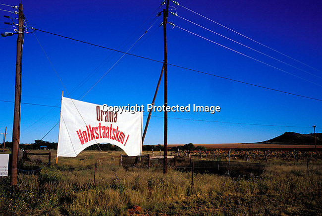 DIPOAFR00058.An sign at the Orania show , in Orania, an all white Afrikaner community in Northern Cape , South Africa..Photo: Per-Anders Pettersson/ iAfrika Photos