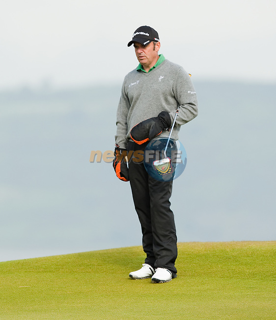Paul McGinley studies the third green during the first days play of the Barclays Scottish Open, played over the links at Castle Stuart, Inverness, Scotland from 7th to 10th July 2011:  Picture Stuart Adams /www.golffile.ie  7th July July 2011