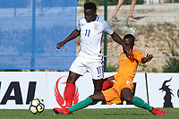 Ronaldo Vieira of England eludes a tackle during England Under-18 vs Ivory Coast Under-20, Toulon Tournament Final Football at Stade de Lattre-de-Tassigny on 10th June 2017