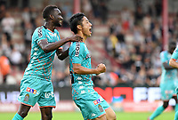 KORTRIJK , BELGIUM - AUGUST 03 : Ryota Morioka of Charleroi pictured celebrating with teammate Adama Niane (left) after scoring the 0-1 for Charleroi during the Jupiler Pro League match day 2 between Kv Kortrijk and Sporting Charleroi on August 03 , 2019 in Kortrijk , Belgium . ( Photo by David Catry / Isosport )
