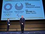 April 25, 2016, Tokyo, Japan - Aso Tokolo stands infront of his winning design for the logos for 2020 Tokyo Olympics and Paralympics on Monday, April 25, 2016, in Tokyo. Stark lindogo-and-white checkered patterns designed by Aso Tokolo now have become the official logos of the Games following a slapstick over the selection. The original emblems designed by Kenjiro Sano was scrapped amid accusations of plagiarism last year.  (Photo by Natsuki Sakai/AFLO) AYF -mis-