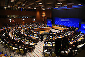 """World leaders and delegates listen as United States President Barack Obama (center panel) speaks at the """"Leader's Summit on Countering ISIL and Countering Violent Extremism"""" at the United Nations Headquarters, New York, New York on September 29, 2015. <br /> Credit: Anthony Behar / Pool via CNP"""