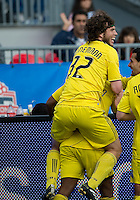 23 April 2011: Columbus Crew forward Tom Heinemann #32 celebrates a goal by Columbus Crew forward Emilio Renteria #20 during a game between the Columbus Crew and the Toronto FC at BMO Field in Toronto, Ontario Canada..The game ended in a 1-1 draw.