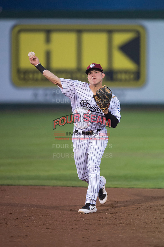 Idaho Falls Chukars second baseman Nathan Eaton (8) throws to first base during a Pioneer League game against the Great Falls Voyagers at Melaleuca Field on August 18, 2018 in Idaho Falls, Idaho. The Idaho Falls Chukars defeated the Great Falls Voyagers by a score of 6-5. (Zachary Lucy/Four Seam Images)