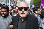 © Joel Goodman - 07973 332324 - all rights reserved . 20/06/2010 . London , UK . GEORGE GALLOWAY at a demonstration against the English Defence League ( EDL ) , following a planned - but cancelled - EDL demonstration in East London . Photo credit : Joel Goodman