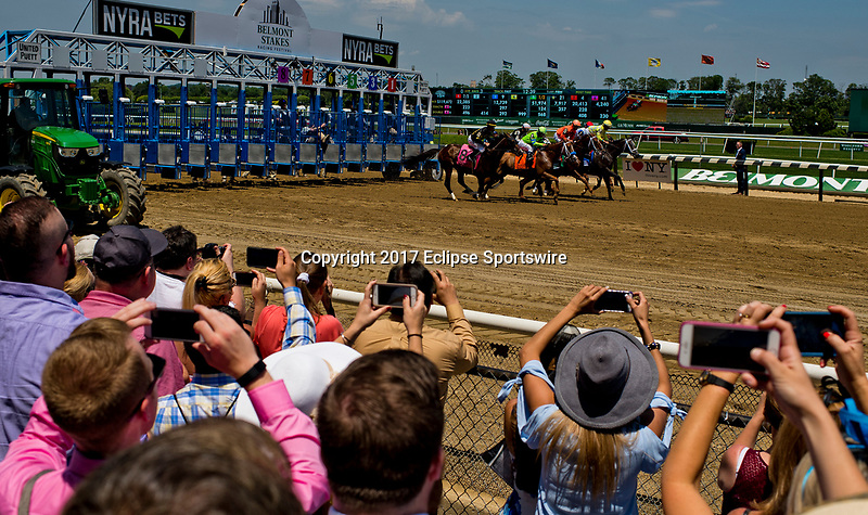 ELMONT, NY - JUNE 10: The horses break out of the gate during the Brooklyn Invitational Stakes on Belmont Stakes Day at Belmont Park on June 10, 2017 in Elmont, New York (Photo by Scott Serio/Eclipse Sportswire/Getty Images)