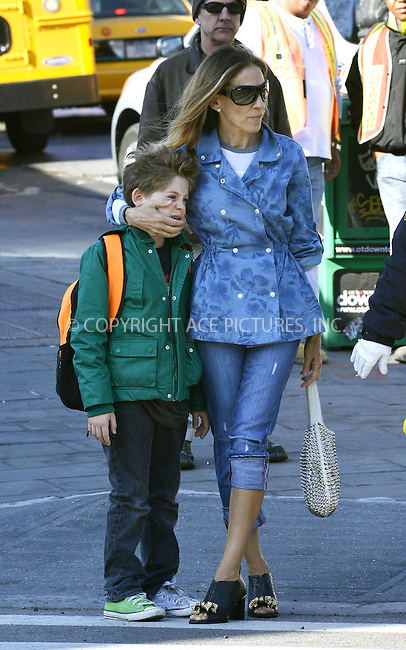 WWW.ACEPIXS.COM....April 26 2013, New York City....Sarah Jessica Parker takes her son James Broderick to school on April 26 2013 in New York City......By Line: Curtis Means/ACE Pictures......ACE Pictures, Inc...tel: 646 769 0430..Email: info@acepixs.com..www.acepixs.com