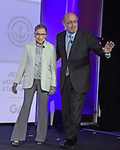 """Associate Justice of the United States Supreme Court Ruth Bader Ginsburg arrives on stage at the General Assembly of the Jewish Federations of North America on Monday, at the Washington Hilton in Washington, D.C. In a wide-ranging interview with super lawyer Kenneth Feinberg, Justice Ginsburg remarked that the last week's election means that Donald J. Trump will fill the nine-month-old Supreme Court vacancy. She also touched upon the origin of her famous nickname, saying, the Notorious RBG was inspired by """"the Notorious B.I.G. ... we're both born and bred in Brooklyn."""" November 14, 2016. <br /> Credit: Ron Sachs / CNP"""