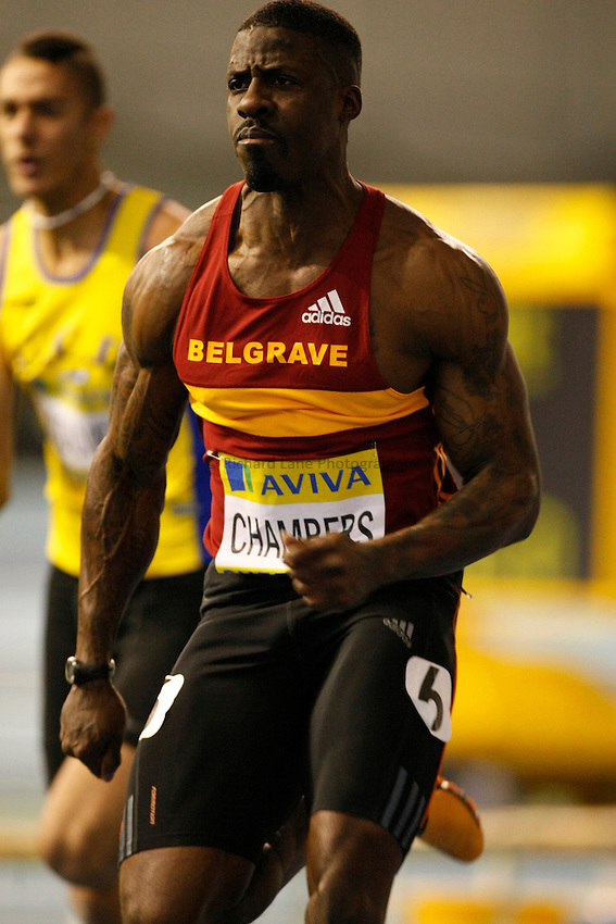 Photo: Richard Lane/Richard Lane Photography. Aviva World Trials & UK Championships. 13/02/2010. Dwain Chambers in a men's 60m heat.