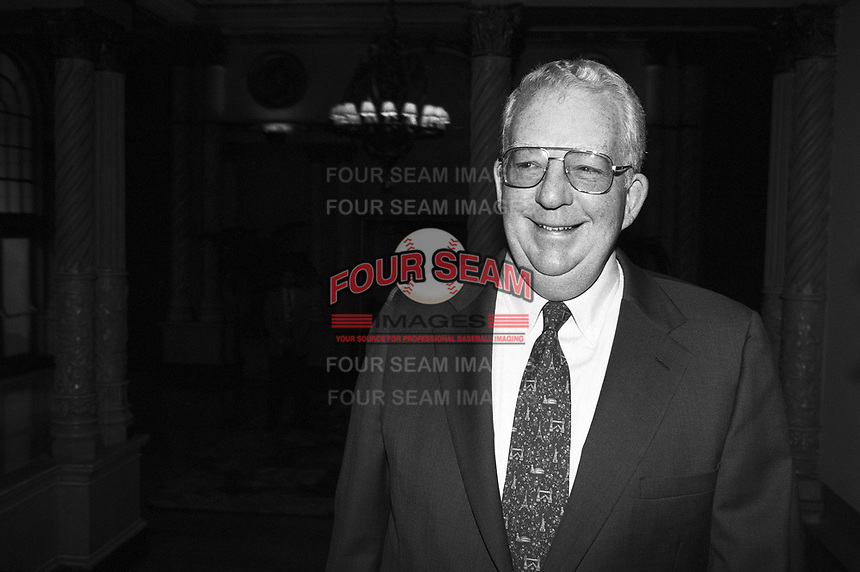 Bill Giles, owner of the Philadelphia Phillies, at The Biltmore Hotel in Los Angeles,California during the 1996 owners meetings. (Larry Goren/Four Seam Images)