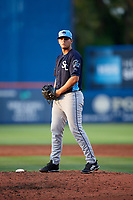 Charlotte Stone Crabs relief pitcher Adrian Navas (15) gets ready to deliver a pitch during the first game of a doubleheader against the St. Lucie Mets on April 24, 2018 at First Data Field in Port St. Lucie, Florida.  St. Lucie defeated Charlotte 5-3.  (Mike Janes/Four Seam Images)