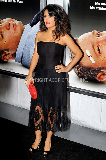 WWW.ACEPIXS.COM....October 9 2012, New York City.... Salma Hayek arriving at the Here Comes The Boom Premiere at AMC Loews Lincoln Square on October 9, 2012 in New York City.....By Line: Nancy Rivera/ACE Pictures......ACE Pictures, Inc...tel: 646 769 0430..Email: info@acepixs.com..www.acepixs.com