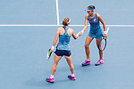 Zhang Shuai of China (R) and Samantha Stosur of Australia (L) celebrates after winning a point against Shuko Aoyama of Japan and Lidziya Marozava of Belarus during the doubles final match at the WTA Prudential Hong Kong Tennis Open 2018 at the Victoria Park Tennis Stadium on 14 October 2018 in Hong Kong, Hong Kong. Photo by Yu Chun Christopher Wong / Power Sport Images
