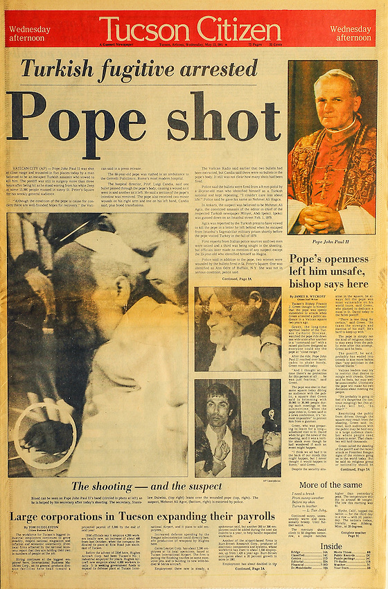This is the Tucson Citizen front page for May 13, 1981, when Pope John Paul II was shot.