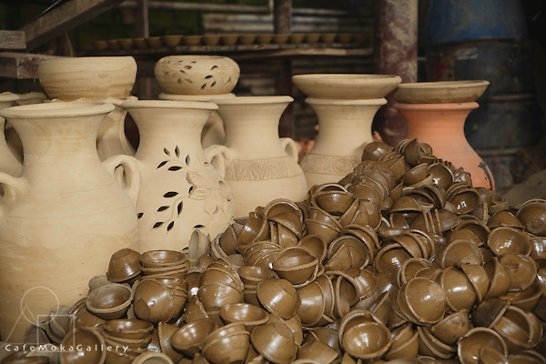 Clay pots and deyas at Radika pottery in Chaguanas