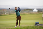 4th October 2017, The Old Course, St Andrews, Scotland; Alfred Dunhill Links Championship, practice round; Actor Jamie Dornan tees off on the seventeenth hole during a practice round before the Alfred Dunhill Links Championship on the Old Course, St Andrews