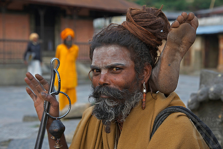 Sadus at Pashupatinath Cremation and Temple Area in Kathmadu, Nepa