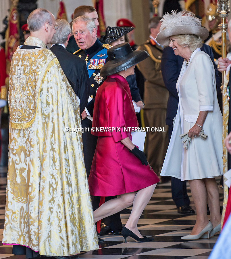 18.06.2015; London, UK: PRINCE CHARLES AND CAMILLA<br /> attended a service of commemoration at St Paul&rsquo;s Cathedral to mark the 200th Anniversary of the Battle of Waterloo.<br /> Picture Shows: Duchess of Wellington curtsing to Camilla Duchess of Cornwall<br /> Mandatory Credit Photo: &copy;MoD/NEWSPIX INTERNATIONAL<br /> <br /> (Failure to credit will incur a surcharge of 100% of reproduction fees)<br /> IMMEDIATE CONFIRMATION OF USAGE REQUIRED:<br /> Newspix International, 31 Chinnery Hill, Bishop's Stortford, ENGLAND CM23 3PS<br /> Tel:+441279 324672  ; Fax: +441279656877<br /> Mobile:  07775681153<br /> e-mail: info@newspixinternational.co.uk<br /> **ALL FEES PAYABLE TO: &quot;NEWSPIX  INTERNATIONAL&quot;**