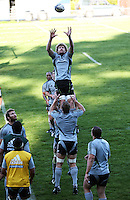 Adam Thomson goes up for lineout ball. All Blacks Training Session at Rugby League Park, Newtown, Wellington. Thursday 17 September 2009. Photo: Dave Lintott/lintottphoto.co.nz